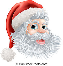 Happy Christmas Santa face - Illustration of a happy cartoon...