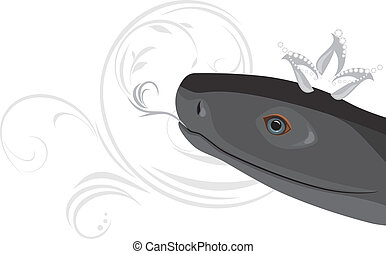 Head of a black snake with crown