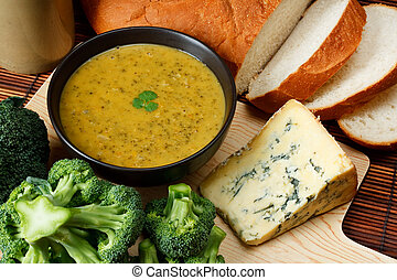 Stilton and broccoli soup - Bowl of broccoli and Stilton...
