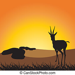 Antelope on a background of sunset. Vector illustration
