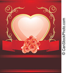 Heart with blooming roses. Card