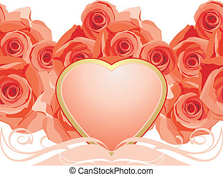 Pink heart with blooming roses