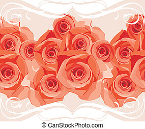 Border with blooming roses - Ornamental border with blooming...