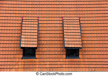 Tiled garret roof Architectural textured background