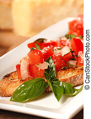Bruschetta with tomato, mozzarella and basil - Delicious...