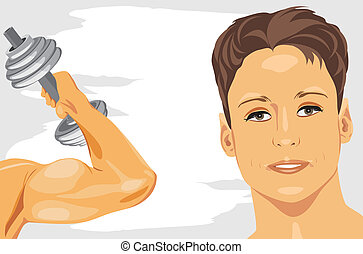 Bodybuilding. Abstract sport banner. Vector illustration