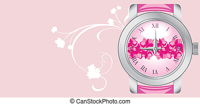Female watch on the pink background Banner Vector...