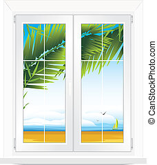 Window with kind of sea landscape