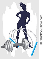 Female silhouette and dumbbell with jumping rope. Vector...