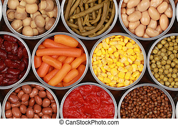 Vegetables in cans - Different kinds of vegetables such as...