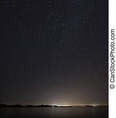 Sky Over Lake Okoboji, Iowa at Night