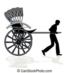Rickshaw - A man carries a passenger wagon. The illustration...