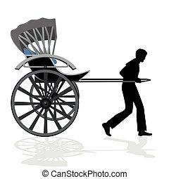 Rickshaw - A man carries a passenger wagon. The illustration...