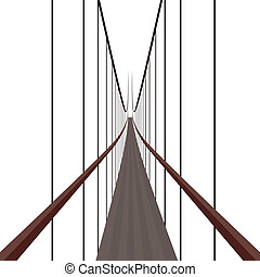 Suspension Bridge on the ropes. The illustration on a white...