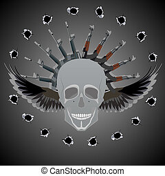 Lethal Weapon - Human skull with wings on the background of...