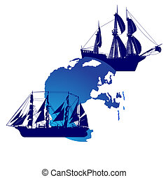 Sailing ships and land - Contour image of an old sailing...
