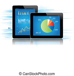 Tablet Statistics - Tablet with statistcs chart.Vector...