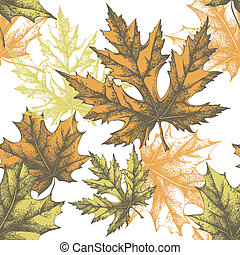 Seamless wallpaper with a maple leaf, hand-drawing Vector...