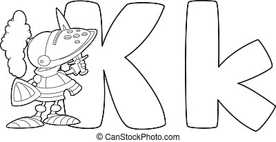 letter K knight outlined - illustration of a letter K knight...