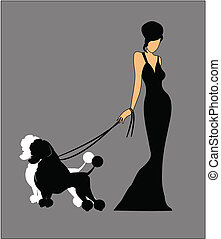 lady in gown with poodles - lady in gown holding on to her...