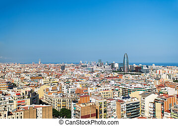 Barcelona bird view cityscape - Bird view on Barcelona,...