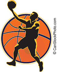 Basketball Player Lay Up Ball - Illustration of a basketball...