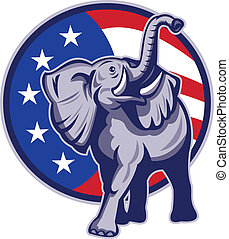 Republican Elephant Mascot USA Flag - Illustration of a...