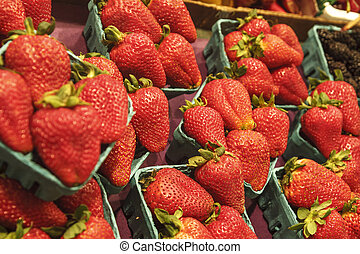 Red Strawberries in Baskets