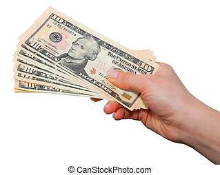 Hand with dollar notes isolated over white background with...