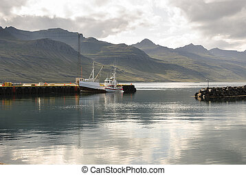port in Iceland - Small harbor in the Faskrusfjordur fjord...