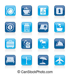 Traveling and vacation icons - vector icon set
