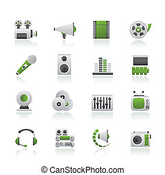 Audio and video icons - vector icon set