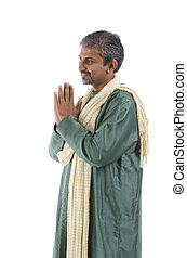 indian male in dhoti dress, greeting