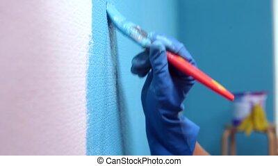 Painting Walls. Close-up