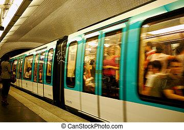 paris metro train - underground metro in paris
