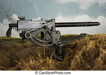 WWII Machine Gun in a trench, with painted landscape...
