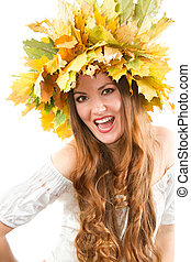 Beautiful fall woman. close up portrait of girl with autumn...
