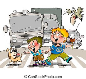 Children on the road - Children slowly moving the road at a...