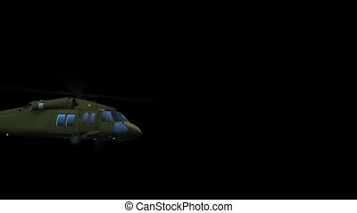 Flying helicopter UH-60 (matte) - Render of camera follows...
