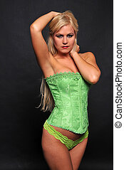 Blonde - Beautiful blonde in lime green bustier and panties