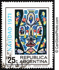 Postage stamp Argentina 1971 Christ in Majesty, Christmas -...