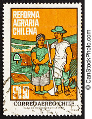 Postage stamp Chile 1968 Farm Couple - CHILE - CIRCA 1968: a...