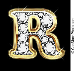 R gold and diamond bling