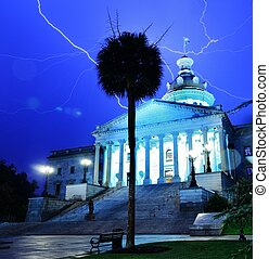 South Carolina State House - Lightning strikes above South...