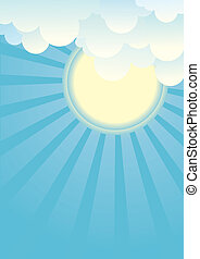 Sun and beautifull clouds.Vector illustration