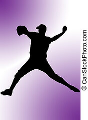 Baseball - Silhouette of a baseball player over colored...