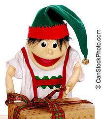 Wrapping It Up - Christmas elf puppet tying a ribbon around...