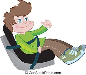 coche, asiento, niños