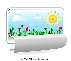 Summer in paper frame with curl isolated on white background.