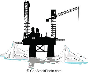 oil rig offshore with icebergs around it